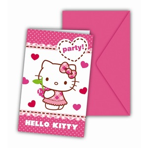 Cartes invitations Hello Kitty en carton - 11 x 21 cm - Multicolore