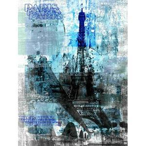 Chassis toile Blue Eiffel - 60 x 80 cm - Chassis Pin - Toile - Multicolore