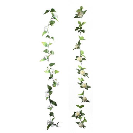 Coloriage Guirlande Fleurs.Guirlande De Fleurs H 150 Cm Blanc Fleurs