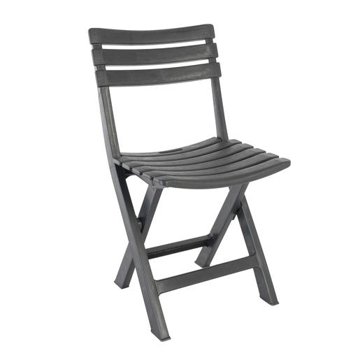 Chaise pliante imitation bois 44 x 41 x H 78 cm Gris