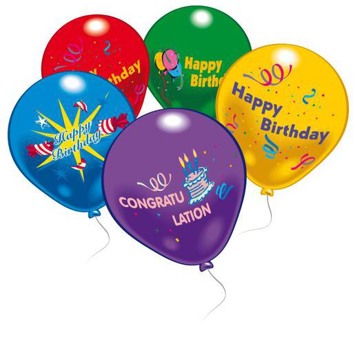 Lot de 10 ballons Happy Birthday - Latex - 25 cm - Multicolore