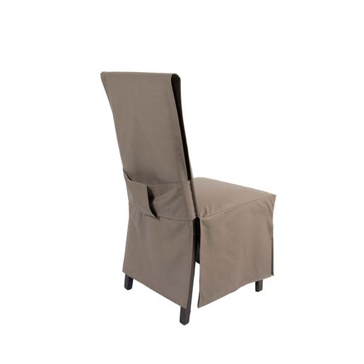 housse de chaise dos droit polyester marron housse