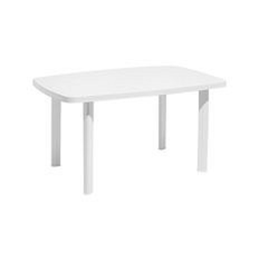 Table rectangulaire - 137 x 85 x H 72 cm - Blanc - Mobilier de ...