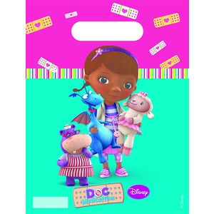 Lot de 6 sacs de fête Doc Mc Stuffins en plastique - 18 x 29 cm - Multicolore