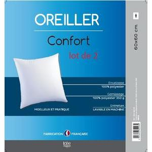 2 oreillers confort - 100 % polyester - 60 x 60 cm - Blanc