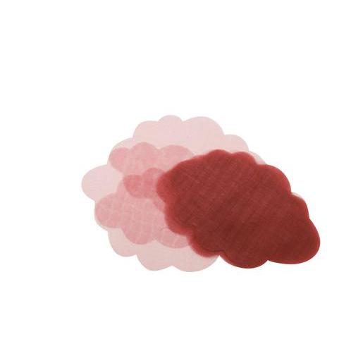 Lot de 50 nuages en organza - 8,5 x 5,5 cm - Rouge bordeaux