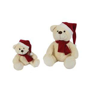 Peluche ours - Polyester - H 20 cm - Jaune et rouge