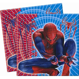 Lot de 20 serviettes Spiderman 4 en pate de cellulose - 33 x 33 cm - Multicolore