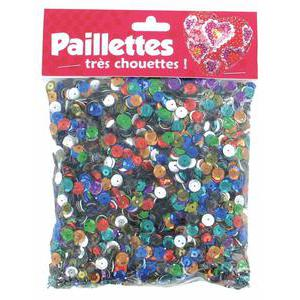 Sachet de paillettes - Plastique - 6 mm - Multicolore
