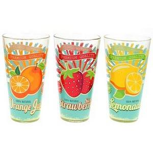 Lot de 3 gobelets vintage - Verre - 31 cl - Multicolore