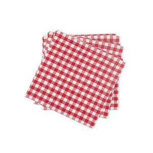 Lot de 3 serviettes en coton vichy rouge