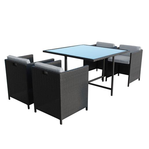 Salon de jardin 4 fauteuils + table - Mobilier de jardin | La Foir ...