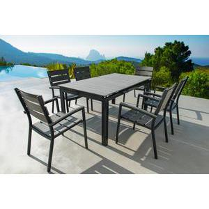 Table Algarve extensible - 164/216 x 90 x H 72 cm - Gris anthracite