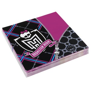 Lot de 20 serviettes Monster High - 33 x 33 cm - Multicolore