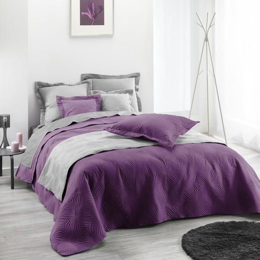 couvre lit 2 personnes florencia 220 x 240 cm violet prune - Couvre Lit Violet