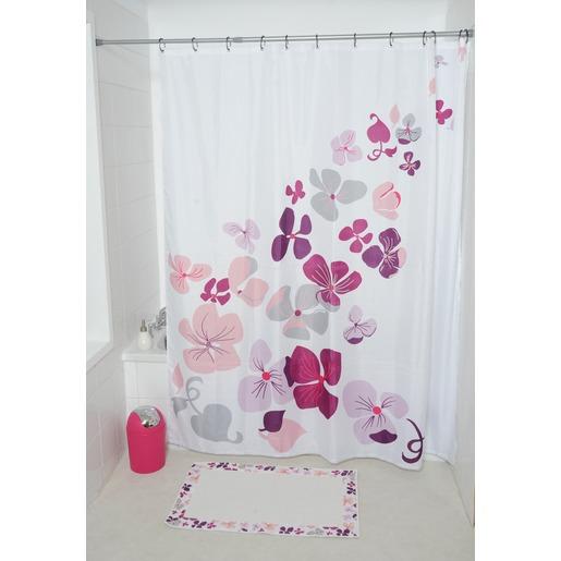 Rideau De Douche Collection Hawai 180 X 200 Cm Fleurs Roses