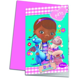 Lot de 6 cartes d'invitation Mc Stuffins en carton - 13 x 17 cm - Multicolore
