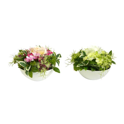 Coupe Composition Florale Plastique Blanc Rose Fleurs