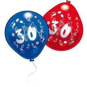 Lot de 10 ballons chiffre 30 - Latex - 25 cm - Multicolore
