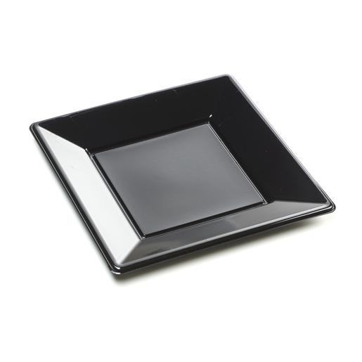 8 assiettes carr/ées plastique noir 23x23 cm