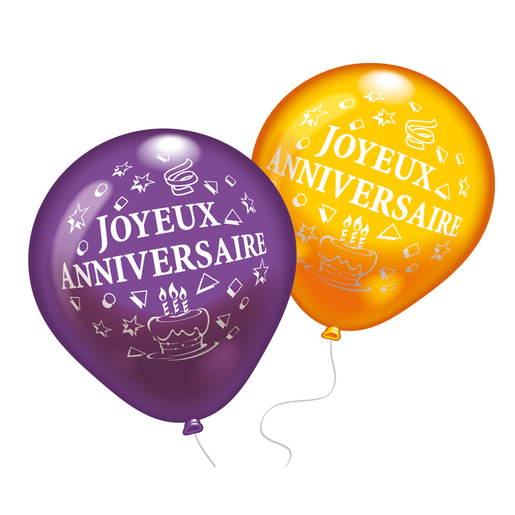 Lot de 8 ballons Joyeux Anniversaire - Latex - Multicolore