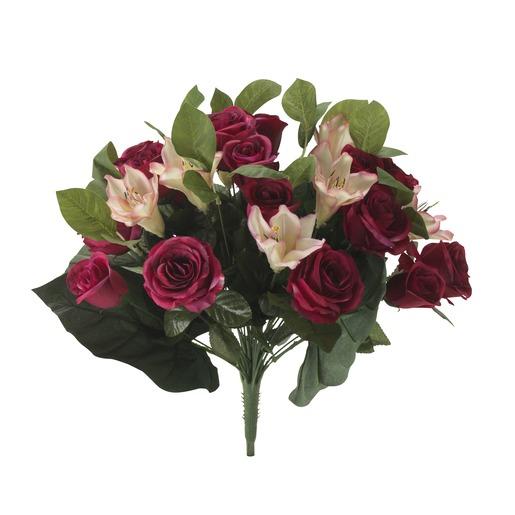 Bouquet De Roses Rouges Artificielles-50cm