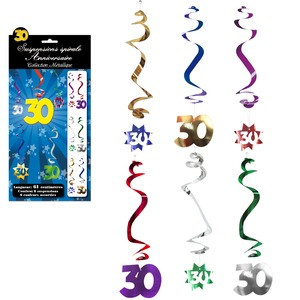 Lot de 6 suspensions spirales Anniversaire 30 ans - 61 cm - Multicolore