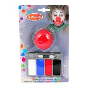 Kit de maquillage clown + nez - Blanc, rouge, bleu et noir