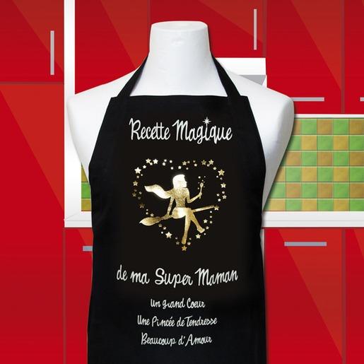 Tablier De Cuisine Recette Magique De Ma Super Maman Noir Et Jaune