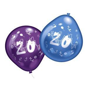 Lot de 10 ballons chiffre 20 - Latex - 25 cm - Multicolore