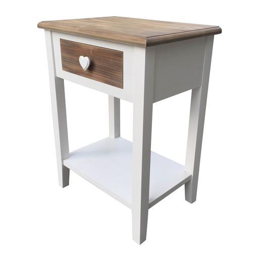 Table De Chevet Mdf Bois Blanc Marron Meubles De