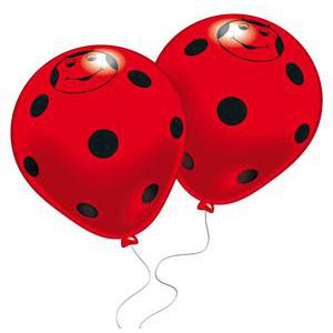 Lot de 8 ballons Joyeuses Coccinelles - Latex - 25 cm - Multicolore