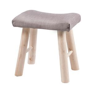 Tabouret campagne - Pin et polyester - 38 x 28 x H 38 cm - Beige