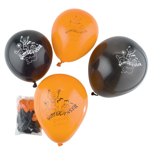 Lot de 100 ballons - 25 cm - Noir et orange