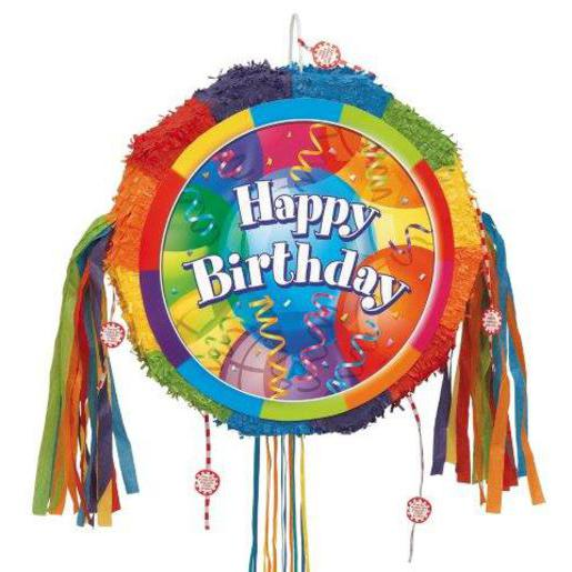 "Pinata ""Happy Birthday"" - - 48 x 9 x 48 cm - Multicolore"