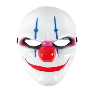 Masque de clown Halloween - Plastique et polyester - 18 x 18 cm - Multicolore