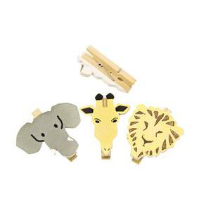 Lot de 6 animaux de la savane sur pince - Bois - 2 x 5 cm - Multicolor