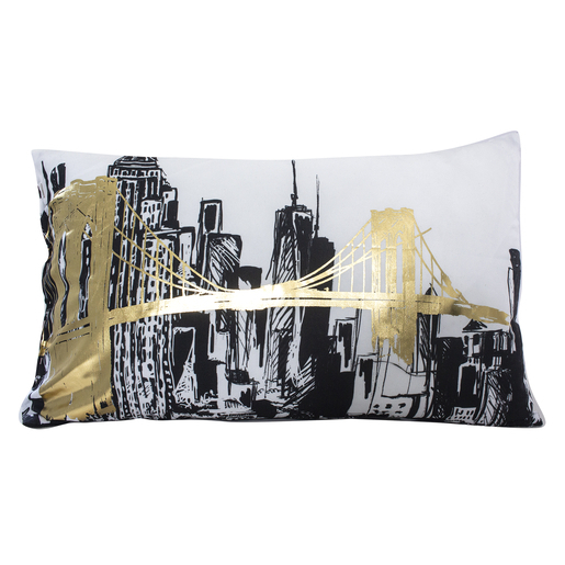 Coussin Non Dehoussable Imprime New York A Reflets D Or 30