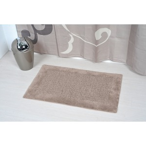 Tapis de salle de bain Karma 100% collection Prestige - 50 x 80 cm - Marron taupe