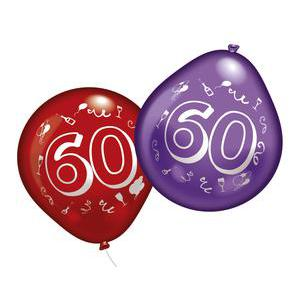 Lot de 10 ballons chiffre 60 - Latex - 25 cm - Multicolore
