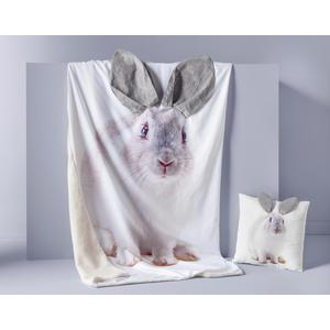 Coussin lapin 3D - 100 % Polyester - 40 x 40 cm - Beige