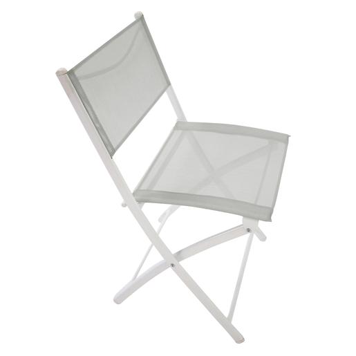 Chaise pliante - Acier - Textilène - Gris - Blanc - Mobilier ...