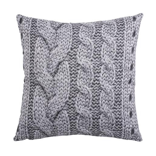 Coussin tricot   40 x 40 cm   Gris ou blanc   Style Scandinave