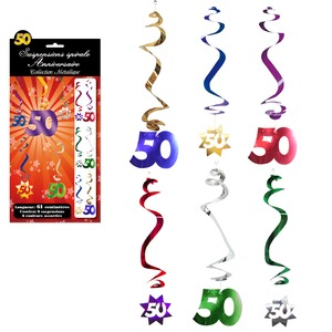 Lot de 6 suspensions spirales Anniversaire 50 ans - 61 cm - Multicolore