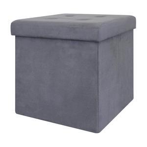 Coffre pouf pliable - 37.5 x 37.5 x H 37.5 cm - Gris foncé 1d9ab7169fde