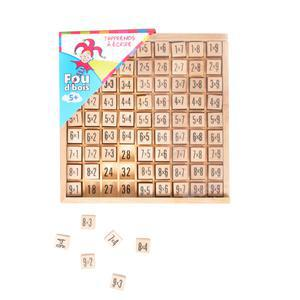 Cubes tables de multiplication en bois - 17 x 5 x 17,5 cm - Marron