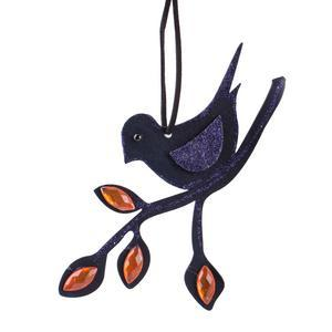 Suspension oiseau - MDF - 16 x 10,5 cm - Violet