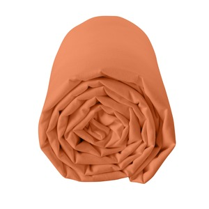 Drap housse 100% coton 57 fils 90 x 190 cm - bonnet 25 cm - orange terracotta