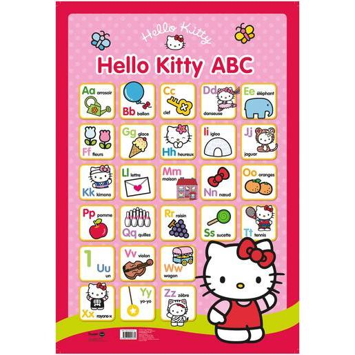 Poster alphabet Hello Kitty - Papier plastifié - 76 x 52 cm - Multicolore