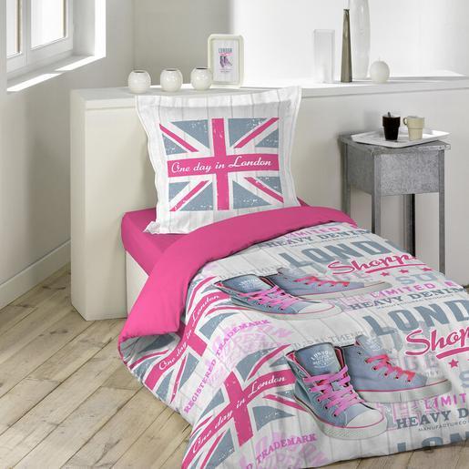Parure de lit 1 personne Londres   140 x 200 cm   Linge de lit